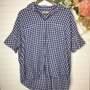 Madewell Check Button Down w/ Pockets Blouse Sz M